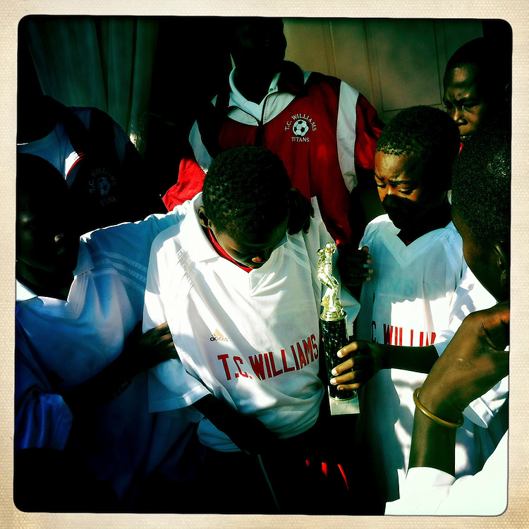 A soccer team at the Corail camp on Friday, April 6, 2012 in Port-au-Prince, Haiti.