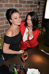 Left to right, GIZZI ERSKINE and AMY MOLYNEAUX at the launch of Broadgate Circle, City of London on 9th June 2015.