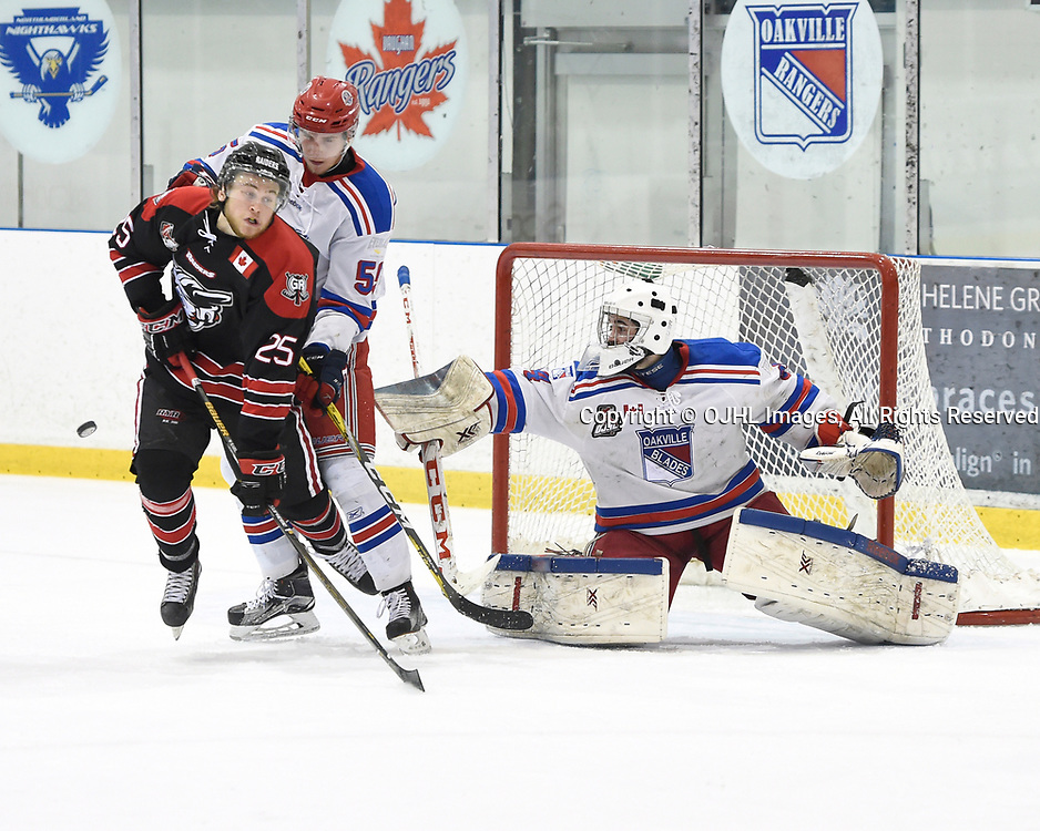 OAKVILLE, ON - APR 8,  2017: Ontario Junior Hockey League, South West Conference Championship game between Oakville Blades and the Georgetown Raiders, Jeff Clarke #55 and Brendan McGlynn #34 of the Oakville Blades keep the puck from Jordan Anderson #25 of the Georgetown Raiders during the second period.<br /> (Photo by Andy Corneau / OJHL Images)