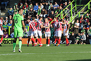 CTFC celebrate the goal during the EFL Sky Bet League 2 match between Forest Green Rovers and Cheltenham Town at the New Lawn, Forest Green, United Kingdom on 20 October 2018.