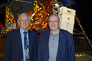 Garden City, New York, U.S. June 6, 2019. L-R, Astronauts CHARLIE DUKE, Apollo 16, and FRED HAISE, Apollo 13, Lunar Module pilots, pose in front of the genuine Grumman Lunar Module 13, built for canceled Apollo 18 mission, during Cradle of Aviation Museum's Apollo Astronauts Press Conference during its day of events celebrating 50th Anniversary of Apollo 11.