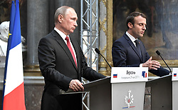 May 29, 2017 - Paris, France - May 29, 2017. - France, Paris. - Russian President Vladimir Putin and French President Emmanuel Macron during a joint press conference on the results of the Russian-French talks in the Palace of Versailles. (Credit Image: © Russian Look via ZUMA Wire)