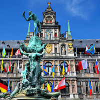 Stadhuis and Brabo Fountain in Antwerp, Belgium <br />