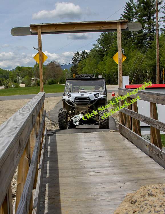 Teryx crossing bridge by Gord's Country Store, Milan NH, Gord's country store, Milan, NH, New Hampshire, New England, atv, utv, sxs, ohrv, orv, trail riding, hobby, adventure, sports, therapy, Click Stock Photography