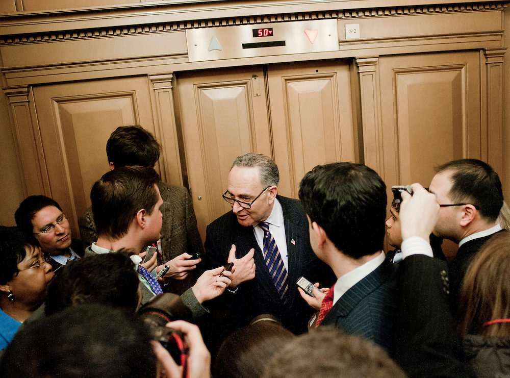"Feb 3, 2011 - Washington, District of Columbia, U.S. - Senator CHUCK SCHUMER (D-NY) speaks to reporters  following a news conference to ""urge Republicans to join in a responsible approach to deficit reduction, and drop threats to force a government shutdown that would have disastrous consequences for the economy.""(Credit Image: © Pete Marovich/ZUMA Press)"