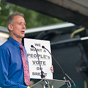 Speaker Human Right Activist Peter Thatcher rally at the Parliament Square to demand a vote on the final Brexit deal on June 23 2018, London, UK.