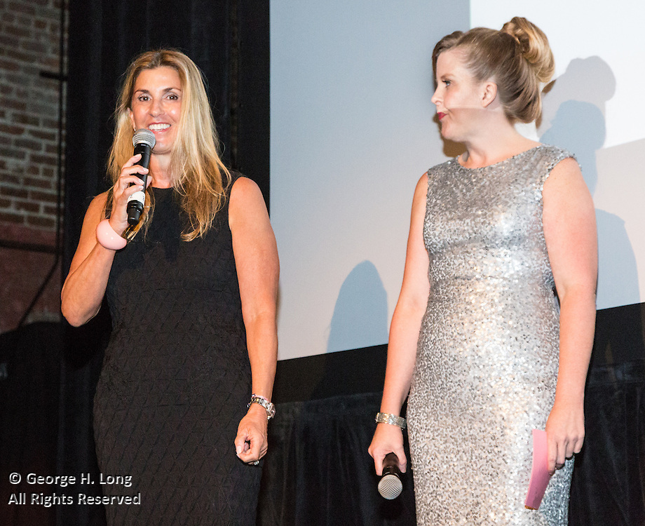 New Orleans Film Society Board President Alexa Georges joins the society's director, Jolene Pinder, onstage during opening night of the 25th anniversary New Orleans Film Festival
