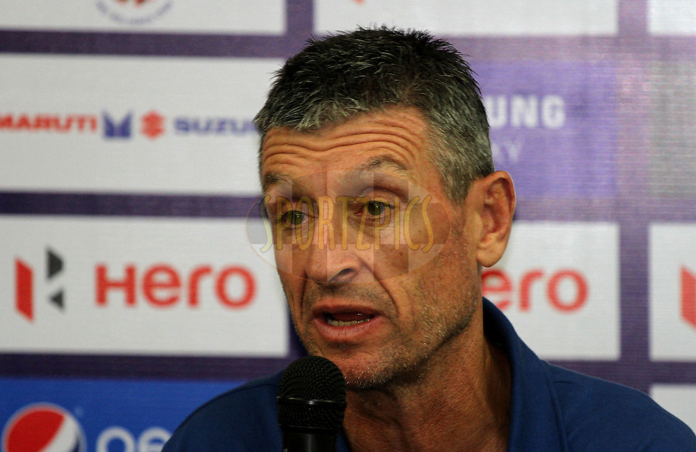 Kerala Blasters FC player coach David Benjamin James during the press conference of match 17 of the Hero Indian Super League between FC Pune City and Kerala Blasters FC held at the Shree Shiv Chhatrapati Sports Complex Stadium, Pune, India on the 30th October 2014.<br /> <br /> Photo by:  Vipin Pawar/ ISL/ SPORTZPICS