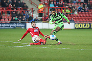 Forest Green Rovers Dan Wishart(17) shoots at goal during the Vanarama National League match between Wrexham FC and Forest Green Rovers at the Racecourse Ground, Wrexham, United Kingdom on 26 November 2016. Photo by Shane Healey.