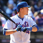 NEW YORK, NEW YORK - APRIL 13: Wilmer Flores, New York Mets, batting during the Miami Marlins Vs New York Mets MLB regular season ball game at Citi Field on April 13, 2016 in New York City. (Photo by Tim Clayton/Corbis via Getty Images)