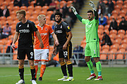 Blackpool Forward, Mark Cullen (9) and Bradford City Defender, Nat Knight-Percival (22) during the EFL Sky Bet League 1 match between Blackpool and Bradford City at Bloomfield Road, Blackpool, England on 8 September 2018.