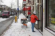 Een postbezorger is bezig met haar ronde op de Amsterdamsestraatweg in Utrecht in de sneeuw.<br /> <br /> A postman is delivering the post while it is snowing
