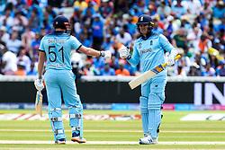 Jason Roy of England and Jonny Bairstow of England fist bump - Mandatory by-line: Robbie Stephenson/JMP - 30/06/2019 - CRICKET - Edgbaston - Birmingham, England - England v India - ICC Cricket World Cup 2019 - Group Stage