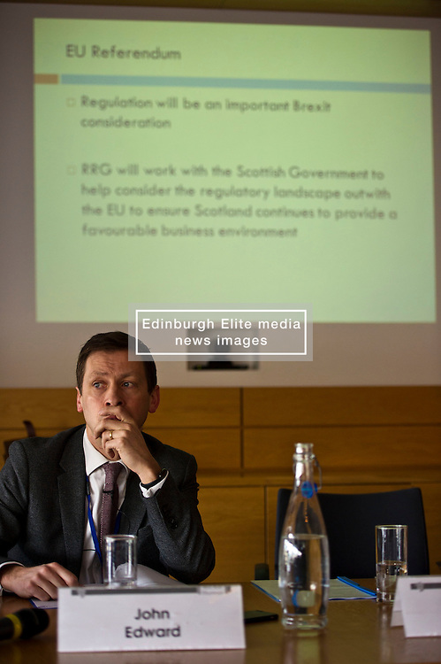 Pictured: John Edward (former head of Office in Scotland, the European Parliament)<br /> <br /> Conference to examine impact of Brexit on Scottish businesses and public services. The event, organised by the Fraser of Allander Institute and Strathclyde Business School, heard from a numbers of speakers including Mark Taylor (Audit Scotland), John Edward (former head of Office in Scotland, the European Parliament), Professor Russel Griggs OBE, (Chair Scottish Government Independent Advisory Regulatory Review Group), Jenny Stewart (head of Infrastructure and Government KPMG), Lynda Towers (Director of public law Morton Fraser), Katerina Lisenkova (Head of economic modelling, Fraser of Allander Institute), Ian Wooton (Professor of Economics and Vice Dean (research) Strathclyde Business School), Alastair Ross FCIPR (assistant Director, Head of Public Policy Association of British Insurers) and  Scottish Brexit Minister Mike Russell<br /> <br /> Ger Harley | EEm 2 March 2017