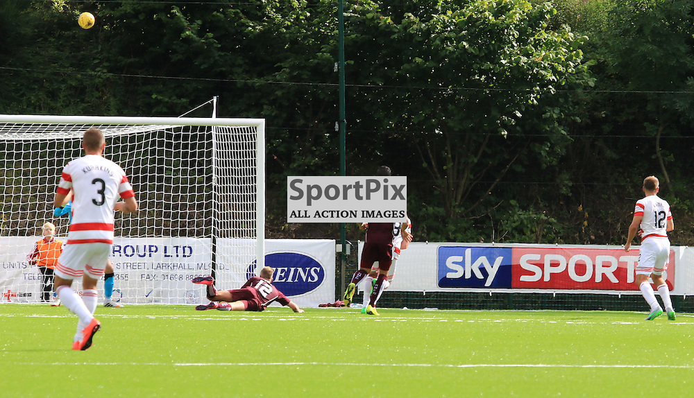 Gramoz Kurtaj opens the scoring during the Hamilton Academical FC  V Heart of Midlothian FC Scottish Premiership 29th August 2015  ©Edward Linton | SportPix.org.uk