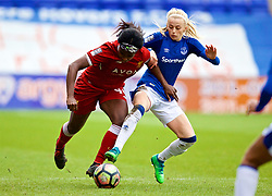 BIRKENHEAD, ENGLAND - Sunday, April 29, 2018: Liverpool's Satara Murray (left) and Everton's Chloe Kelly during the FA Women's Super League 1 match between Liverpool FC Ladies and Everton FC Ladies at Prenton Park. (Pic by David Rawcliffe/Propaganda)