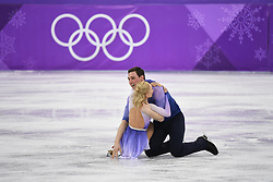 PYEONGCHANG, Feb. 15, 2018  Aljona Savchenko and Bruno Massot (Top) of Germany celebrate after their performance during the pair skating free skating of figure skating at the 2018 PyeongChang Winter Olympic Games, in Gangneung Ice Arena, South Korea, on Feb. 15, 2018. Aljona Savchenko and Bruno Massot won the gold medal in the pair skating event with 235.90 points in total. (Credit Image: © Ju Huanzong/Xinhua via ZUMA Wire)
