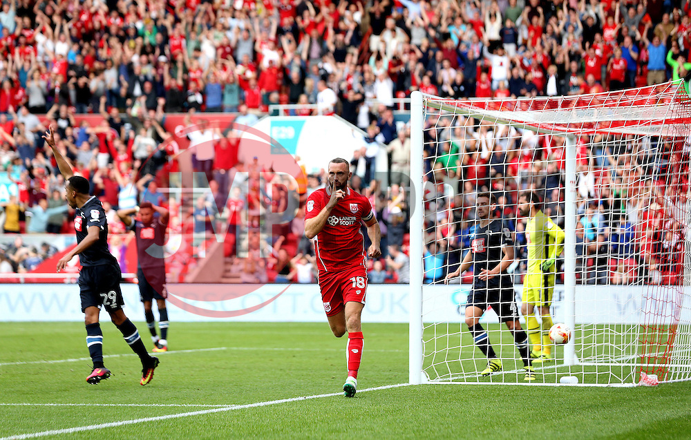 Aaron Wilbraham of Bristol City celebrates scoring a late equaliser - Mandatory by-line: Robbie Stephenson/JMP - 17/09/2016 - FOOTBALL - Ashton Gate Stadium - Bristol, England - Bristol City v Derby County - Sky Bet Championship