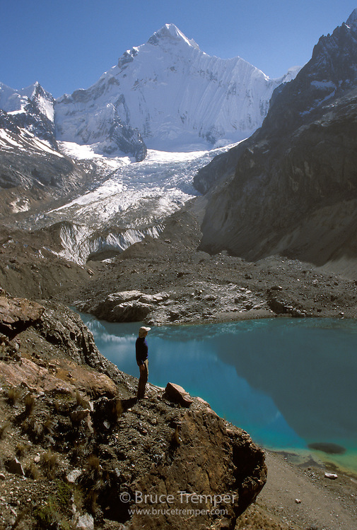 Bob Greely admires the view heading back to camp high in the Huayhuas Range of Peru.  Yerupaja is the mountain behind.