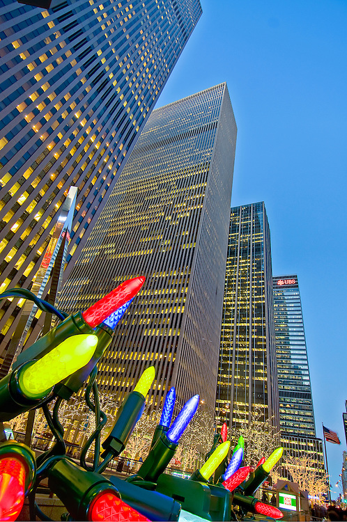 New York, New York , Christmas Lights, New Rockefeller Center, Sixth Avenue, Avenue of the Americas, International Style