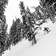 Allie Rood skis backcountry powder in the Tetons near Jackson Hole Mountain Resort.
