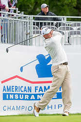 June 22, 2018 - Madison, WI, U.S. - MADISON, WI - JUNE 22: David McKenzie tees off on the first tee during the American Family Insurance Championship Champions Tour golf tournament on June 22, 2018 at University Ridge Golf Course in Madison, WI. (Photo by Lawrence Iles/Icon Sportswire) (Credit Image: © Lawrence Iles/Icon SMI via ZUMA Press)