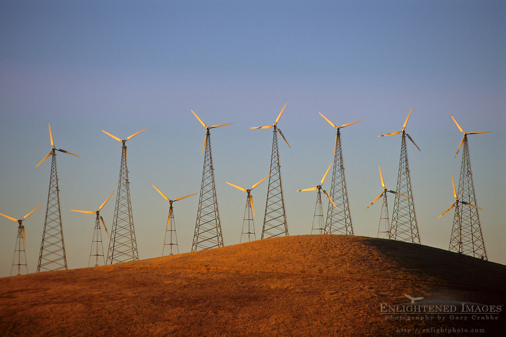 Wind turbine clean energy windmills, Altamont Pass, Alameda County, California