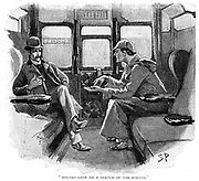 The Adventure of Silver Blaze':  'Holmes gave me a sketch of the events'.  Sherlock Holmes and Dr Watson in the railway train to Devon to investigate a murder and the disappearance of a famous racehorse.  Arthur Conan Doyle's story published in 'The Strand Magazine', London, 1892.  Illustration by Sydney E Paget, the first artist to create an image of Holmes.