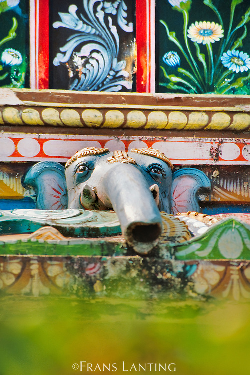Elephant as downspout on Hindu temple, Kerala, India