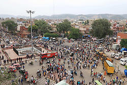 September 11, 2017 - Jaipur, Rajasthan, India - People come out at Ramganj Bazar after the Curfew was relaxed for 2 hours in Jaipur , Rajasthan , India ,11 Sept,2017. Curfew was imposed in parts of Jaipur due to  late-night violence between locals and police, triggered by an alleged assault on a woman by the cops. (Credit Image: © Vishal Bhatnagar/NurPhoto via ZUMA Press)