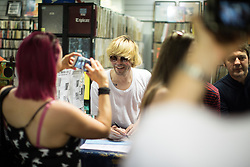 © Licensed to London News Pictures . 26/05/2017 . Manchester , UK . TIM BURGESS . The front of the queue on Oldham Street . The Charlatans do an album signing for the launch of their album Different Days at Piccadilly Records . Photo credit : Joel Goodman/LNP