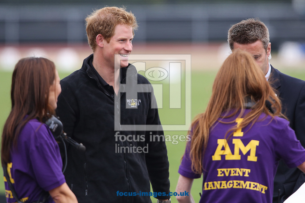 HRH Prince Harry of Wales prior to the Drumhead ceremony at the start of the Invictus Games  Athletics at Lee Valley Athletics Centre, Edmonton<br /> Picture by Mark Chappell/Focus Images Ltd +44 77927 63340<br /> 11/09/2014
