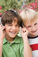 Little Boys Listening to Headphones
