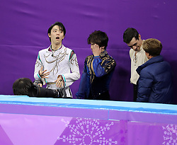 February 17, 2018 - Gangneung, South Korea - (L-R) Gold medal winner YUZURU HANYU of Japan, Silver medal winner SHOMA UNO of Japan, Bronze medal winner JAVIER FERNANDEZ of Spain after the winners were annouced in Figure Skating: Men Single Free Skating at Gangneung Ice Arena during the 2018 Pyeongchang Winter Olympic Games. (Credit Image: © Scott Mc Kiernan via ZUMA Wire)