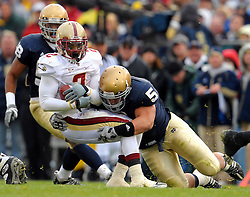 Te'o makes a tackle in the 2009 home win against BC.