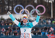 PYEONGCHANG-GUN, SOUTH KOREA - FEBRUARY 10: Krista Parmakoski of Finland celebrates her silver during the Ladies Cross Country Skiing 7.5km + 7.5km Skiathlon on day one of the PyeongChang 2018 Winter Olympic Games at Alpensia Cross-Country Centre on February 10, 2018 in Pyeongchang-gun, South Korea. Photo by Nils Petter Nilsson/Ombrello     <br /> ***BETALBILD***