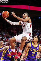 FAYETTEVILLE, AR - JANUARY 12:  Mason Jones #13 of the Arkansas Razorbacks drives for a lay up over Tremont Waters #3 of the LSU Tigers at Bud Walton Arena on January 12, 2019 in Fayetteville, Arkansas.  The Tigers defeated the Razorbacks 94-88.  (Photo by Wesley Hitt/Getty Images) *** Local Caption *** Mason Jones; Tremont Waters