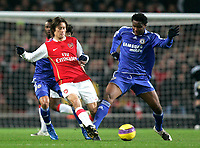 Photo: Tom Dulat/Sportsbeat Images.<br /> <br /> Arsenal v Chelsea. The FA Barclays Premiership. 16/12/2007.<br /> <br /> Tomas Rosicky of Arsenal and Jon Obi MIkel of Chelsea with the ball.