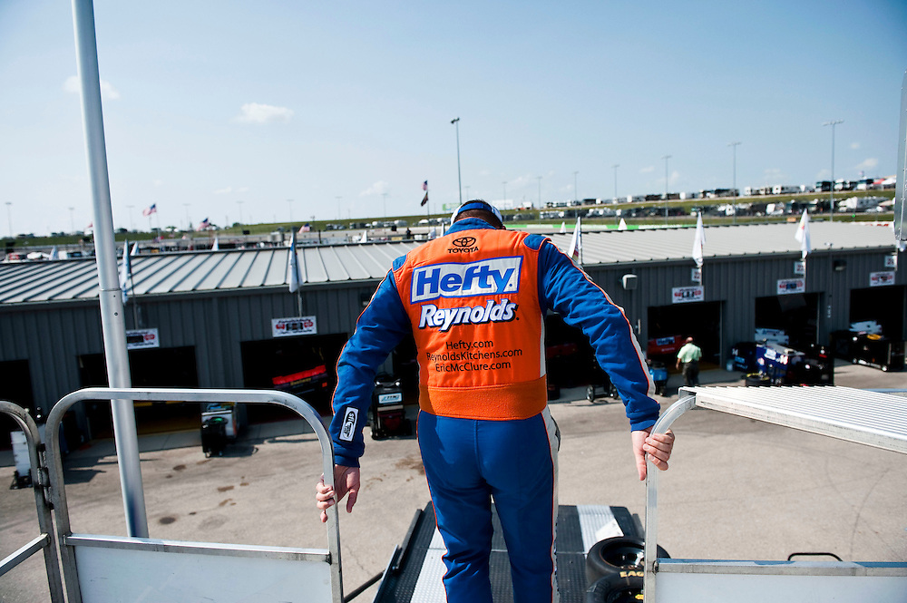 NEWTON, IOWA. -AUG. 1, 2014: NASCAR driver Eric McClure begins to walk back to the garage after viewing his times for the day during practice for the NASCAR Nationwide Series auto race at Iowa Speedway Friday, Aug. 1, 2014. Lauren Justice for The New York Times