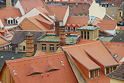 MEISSEN, GERMANY - MAY 22, 2010: View to the red tile roofs of the old buildings in Meissen, Germany.
