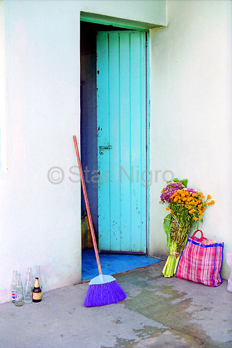 Open Door in Oaxaca,Mexico in preparation for day of the dead celebration. No photoshop was necessary for this naturally colorful scene.<br />