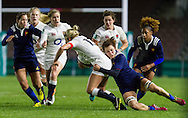 Claire Allan tackled and Danielle Waterman offers support, England Women v France Women in an Old Mutual Wealth Series, Autumn International match at Twickenham Stoop, Twickenham, England, on 9th November 2016. Full Time score 10-5
