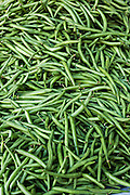 Fresh green string beans at Benito Juarez market in Oaxaca, Mexico.