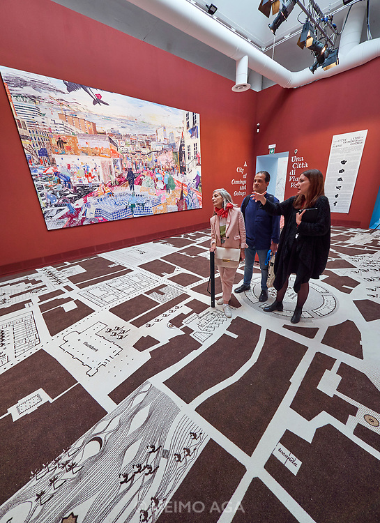 """FREESPACE - 16th Venice Architecture Biennale. Crimson Architectural Historians, """"A City of Comings and Goings""""."""