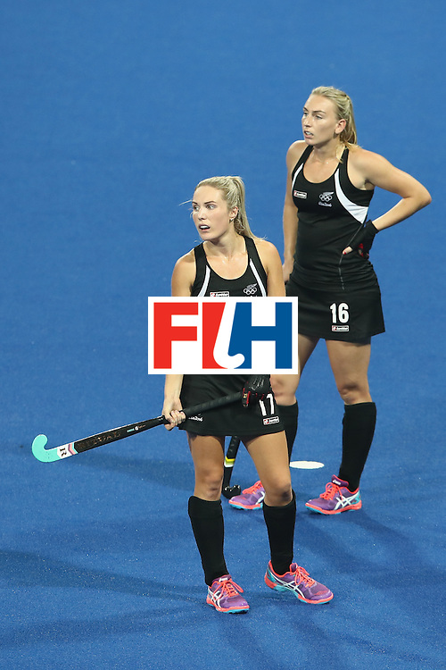 RIO DE JANEIRO, BRAZIL - AUGUST 17:  Sophie Cocks and Liz Thompson of New Zealand look dejected during the womens semifinal match between the Great Britain and New Zealand on Day 12 of the Rio 2016 Olympic Games at the Olympic Hockey Centre on August 17, 2016 in Rio de Janeiro, Brazil.  (Photo by Mark Kolbe/Getty Images)