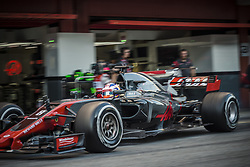 March 10, 2017 - Montmelo, Catalonia, Spain - ROMAIN GROSJEAN (FRA) of Haas at the pit stop at day 8 of Formula One testing at Circuit de Catalunya (Credit Image: © Matthias Oesterle via ZUMA Wire)