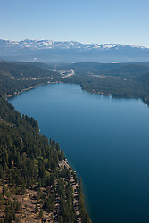 """Donner Lake Aerial 5"" - Photograph of Donner Lake in Truckee, California. Shot from an amphibious seaplane with the door removed."