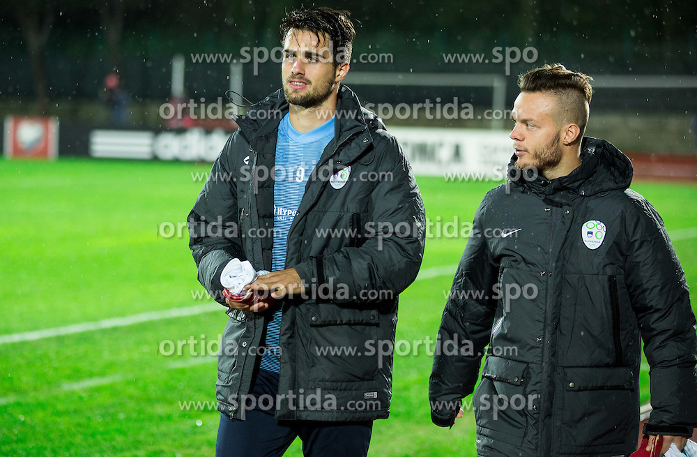 Luka Krajnc of Slovenia and Dejan Lazarevic of Slovenia prior to the football match between National teams of San Marino and Slovenia in Group E of EURO 2016 Qualifications, on October 12, 2015 in Stadio Olimpico Serravalle, Republic of San Marino. Photo by Vid Ponikvar / Sportida