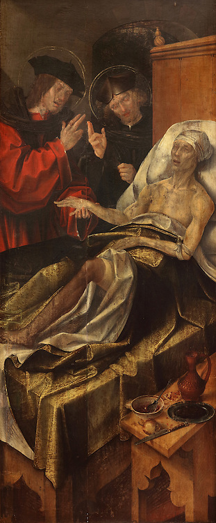 Saints Cosmas and Damian, twin brothers who were physicians and early Christian martyrs, painting, 1530-32, by Garcia Fernandez, d. 1565, in the Museu Nacional de Machado de Castro, Coimbra, Portugal. The museum was opened in 1913 and renovated 2004-2012. The city of Coimbra dates back to Roman times and was the capital of Portugal from 1131 to 1255. Its historic buildings are listed as a UNESCO World Heritage Site. Picture by Manuel Cohen