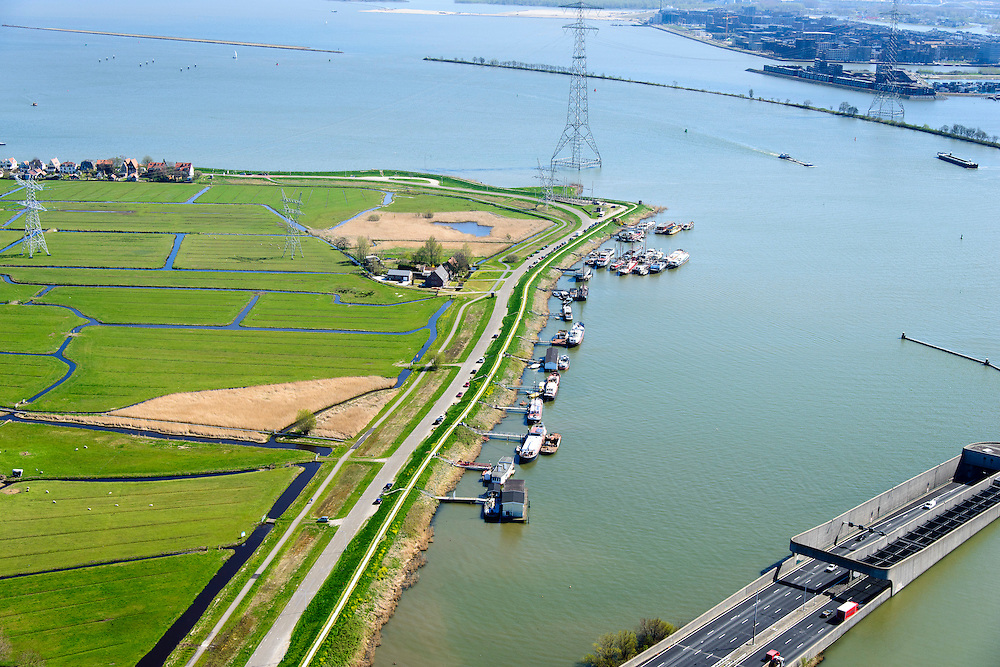 Nederland, Noord-Holland, Amsterdam, 20-04-2015; ingang Zeeburgertunnel, gezien naar IJburg. Links Durgerdam.<br /> Amsterdam Ring Road with tunnel.<br /> luchtfoto (toeslag op standard tarieven);<br /> aerial photo (additional fee required);<br /> copyright foto/photo Siebe Swart